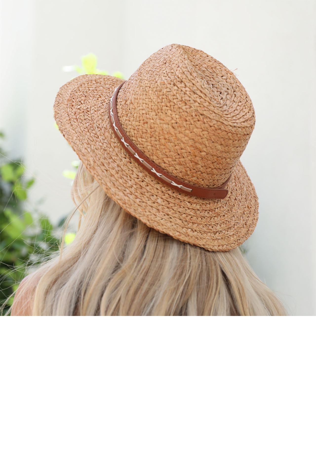 Dark Natural Straw Panama Hat with Faux Leather Band Detail back view