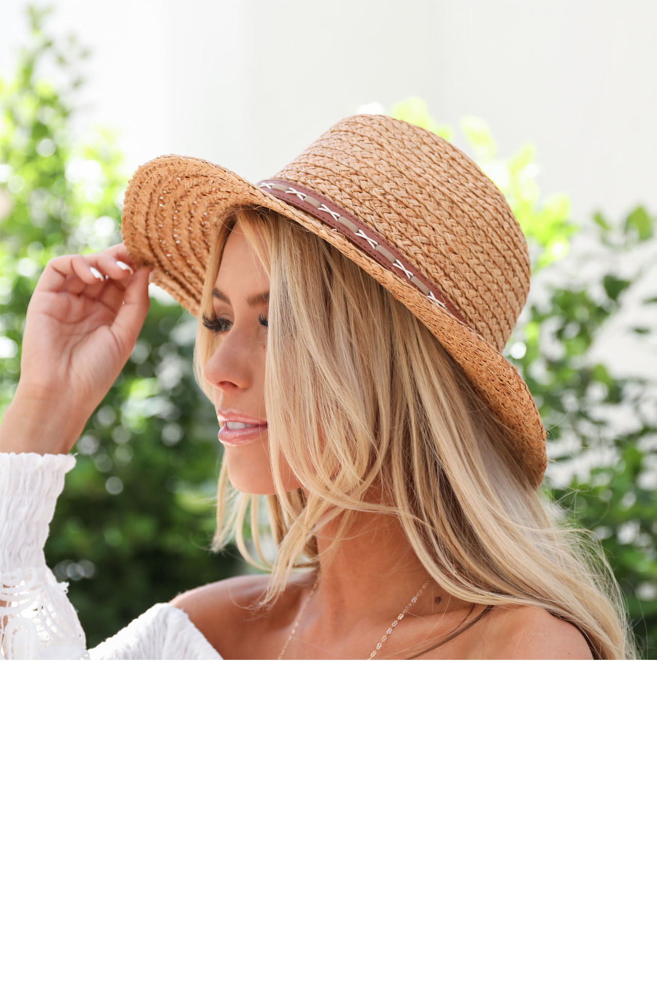 Dark Natural Straw Panama Hat with Faux Leather Band Detail side view