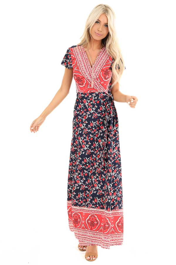 Navy and Candy Apple Red Floral Print Wrap Maxi Dress front full body