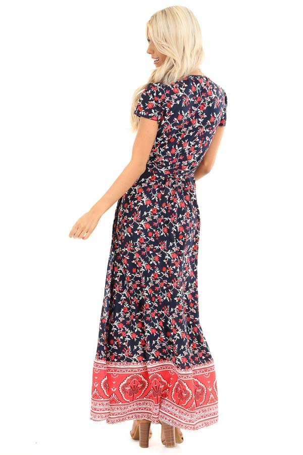 Navy and Candy Apple Red Floral Print Wrap Maxi Dress back full body