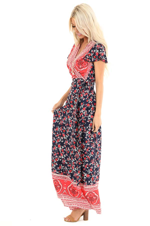 Navy and Candy Apple Red Floral Print Wrap Maxi Dress side full body