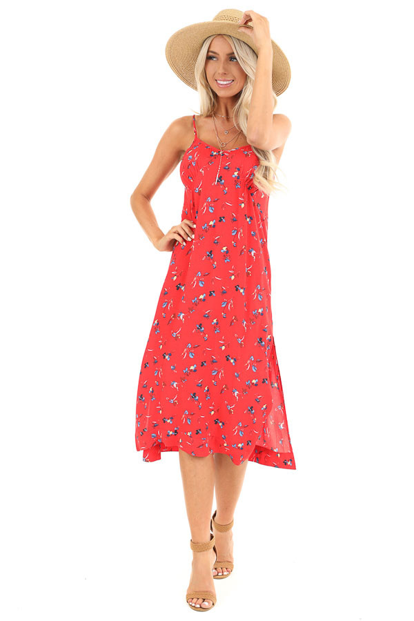 Firetruck Red Floral Print Spaghetti Strap Midi Dress front full body