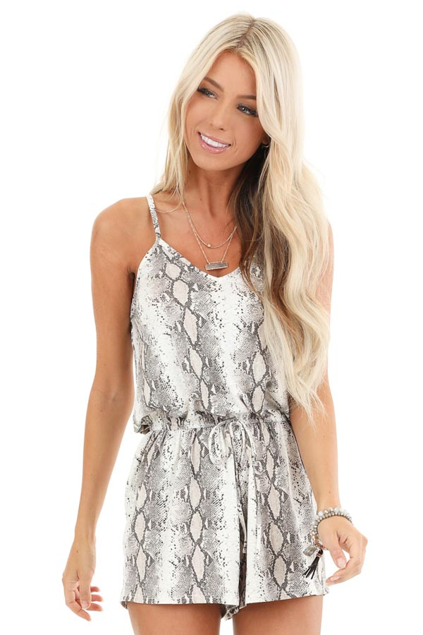 Taupe Snakeskin Print Sleeveless Strappy V Neck Romper front close up