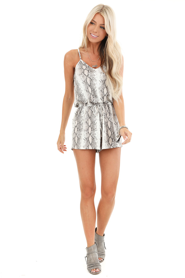 Taupe Snakeskin Print Sleeveless Strappy V Neck Romper front full body