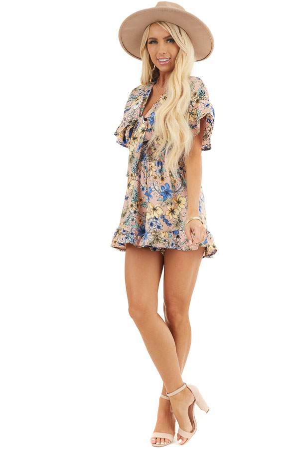 Dusty Mauve Floral Print Romper with Front Ribbon Tie front full body