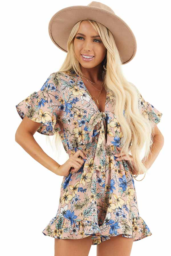 Dusty Mauve Floral Print Romper with Front Ribbon Tie front close up