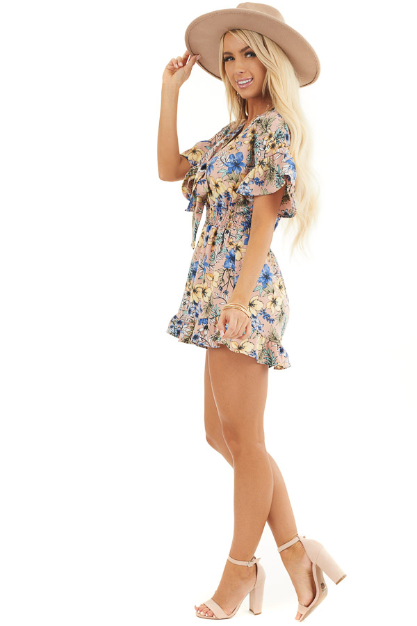 Dusty Mauve Floral Print Romper with Front Ribbon Tie side full body