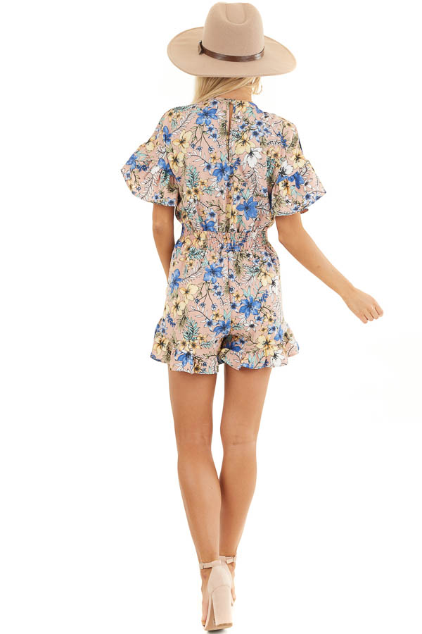 Dusty Mauve Floral Print Romper with Front Ribbon Tie back full body