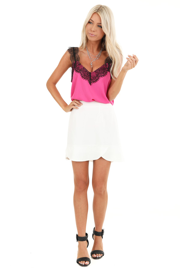Porcelain Straight Cut Mini Skirt with Scalloped Hemline front full body