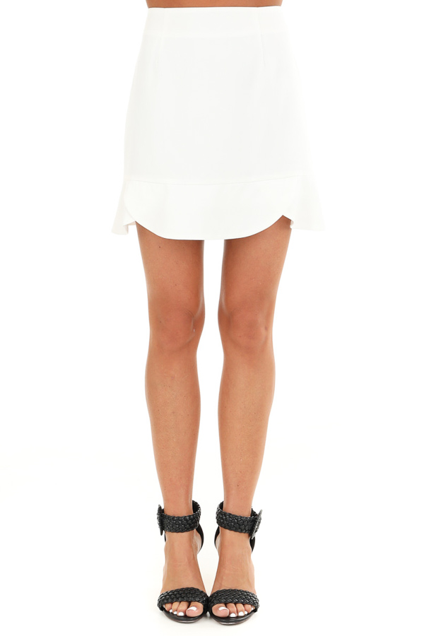 Porcelain Straight Cut Mini Skirt with Scalloped Hemline front view