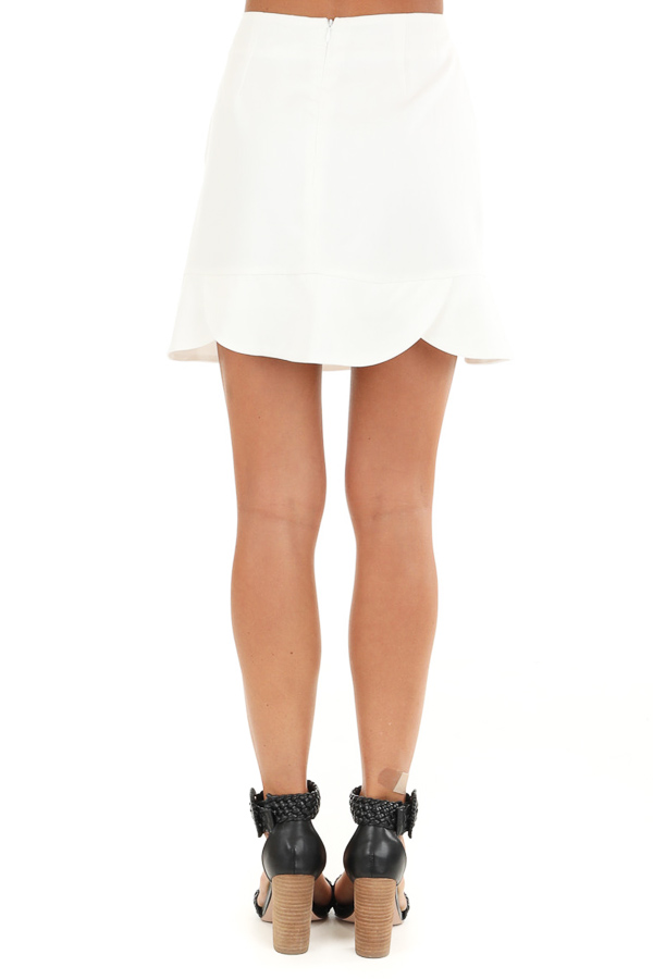 Porcelain Straight Cut Mini Skirt with Scalloped Hemline back view