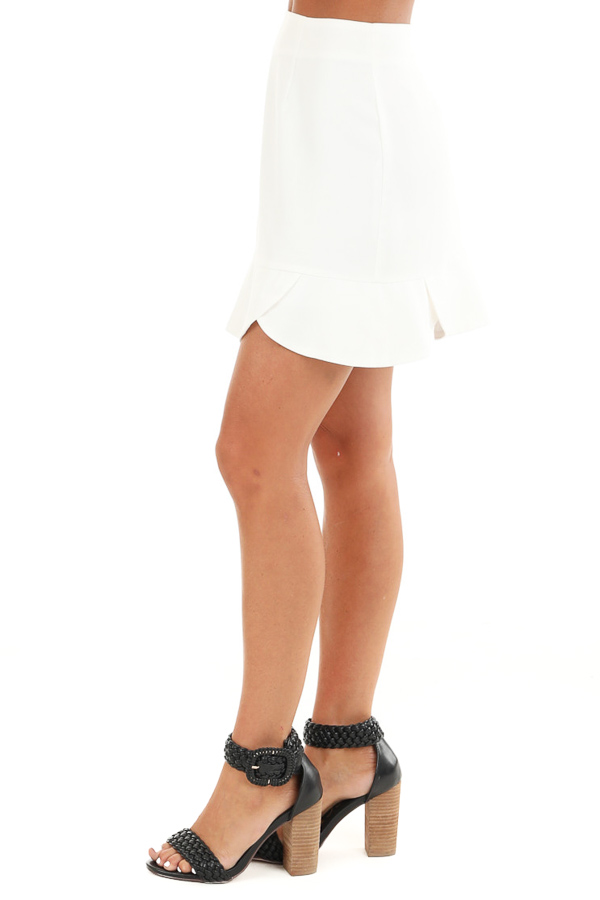 Porcelain Straight Cut Mini Skirt with Scalloped Hemline side view