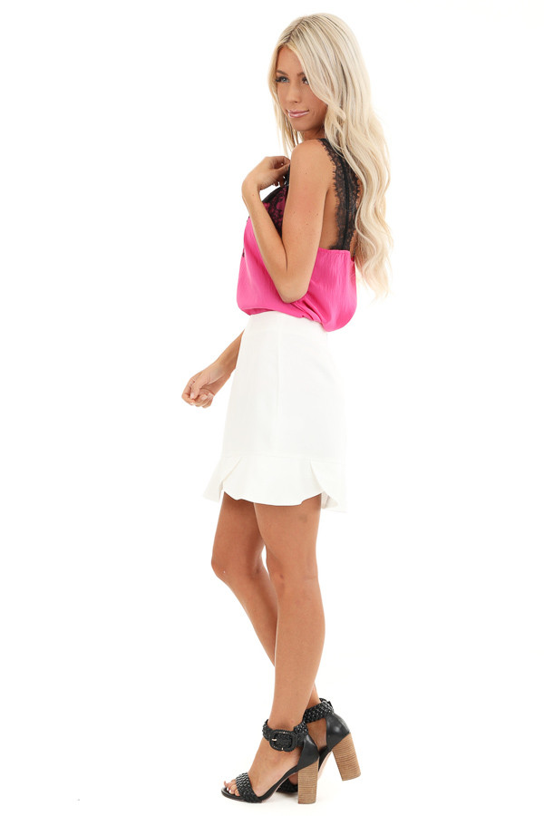 Porcelain Straight Cut Mini Skirt with Scalloped Hemline side full body