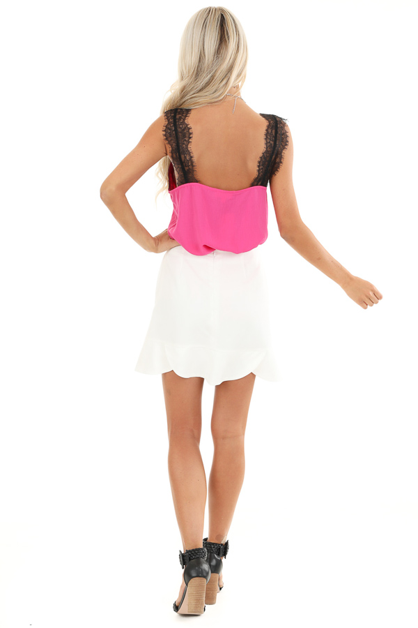 Porcelain Straight Cut Mini Skirt with Scalloped Hemline back full body