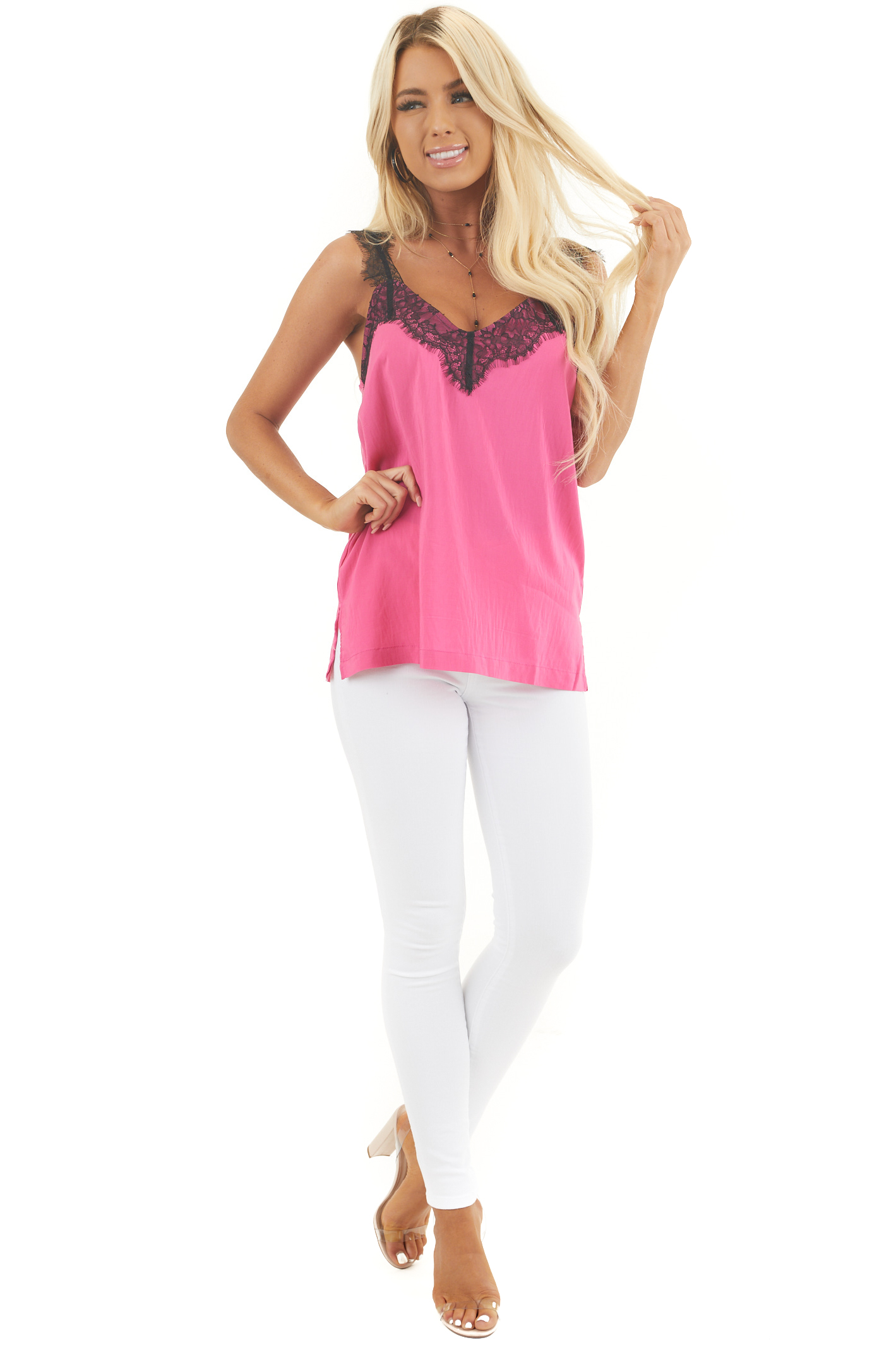Hot Pink Tank Top with Ink Black Lace Trim and Side Slits