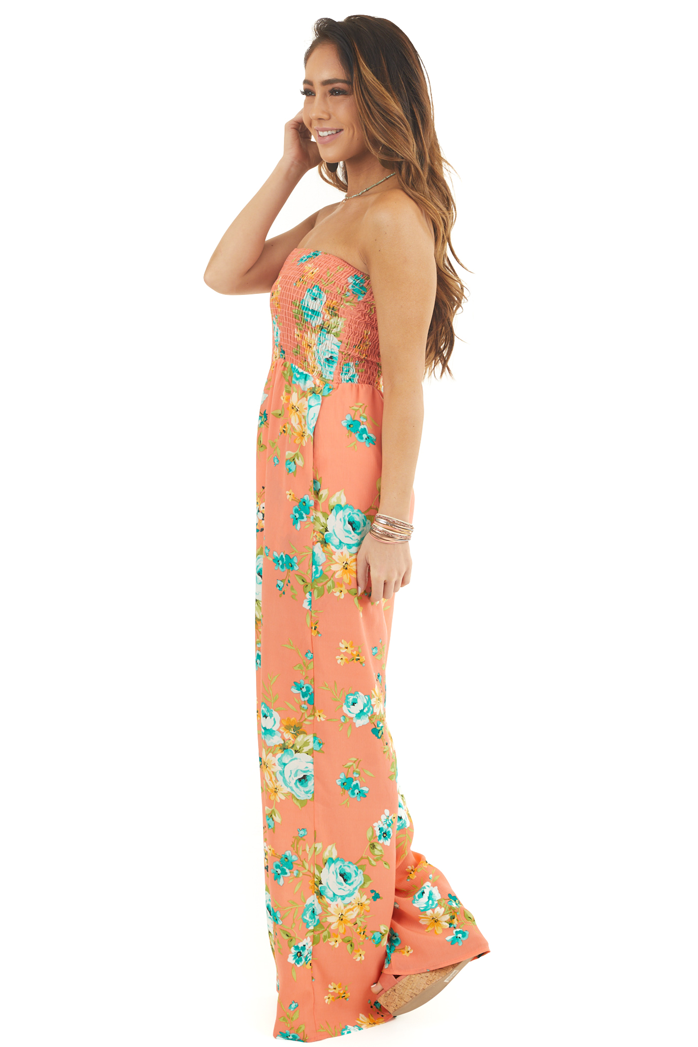 Coral Floral Print Sleeveless Smocked Bodice Jumpsuit