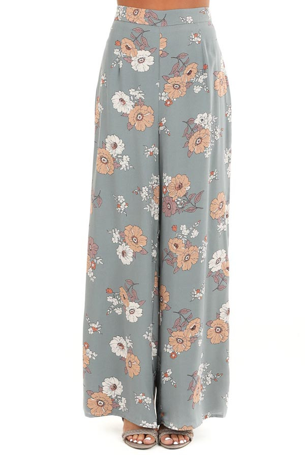 Faded Sage Floral Print Woven Wide Leg Pants front view