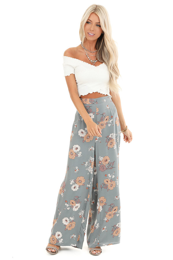 Faded Sage Floral Print Woven Wide Leg Pants front full body