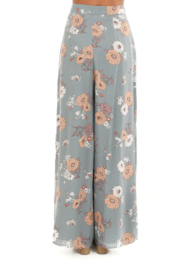 Faded Sage Floral Print Woven Wide Leg Pants back view