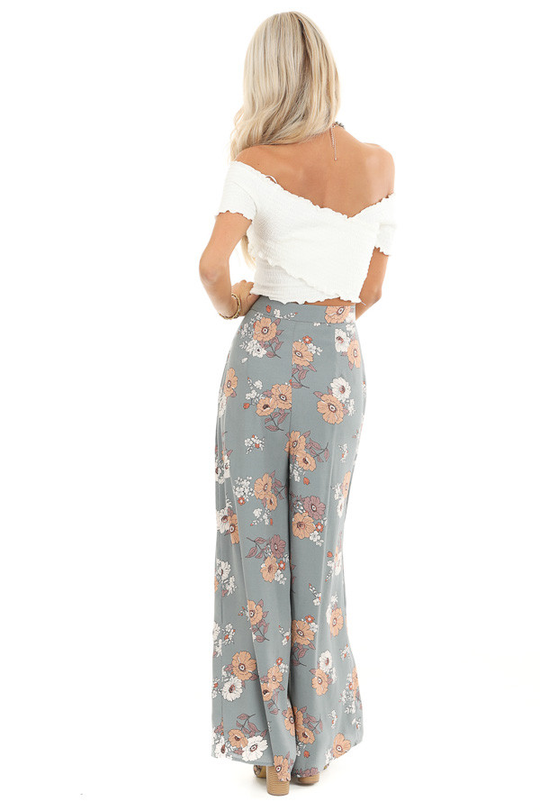 Faded Sage Floral Print Woven Wide Leg Pants back full body