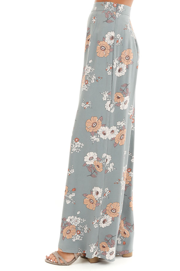Faded Sage Floral Print Woven Wide Leg Pants side view