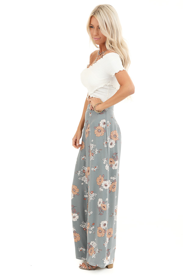 Faded Sage Floral Print Woven Wide Leg Pants side full body