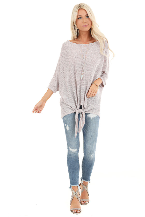 Faded Rosewood Loose Knit Semi Sheer Top with Front Tie front full body