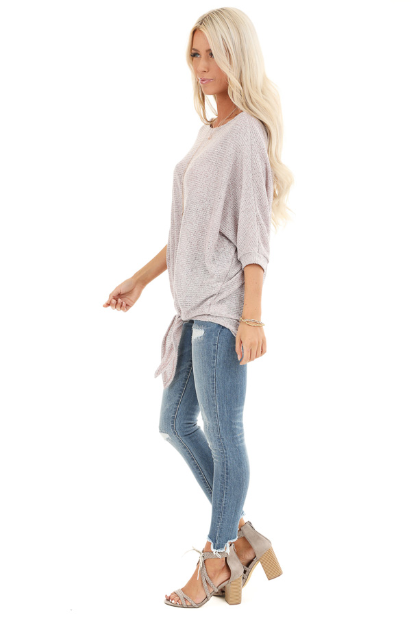 Faded Rosewood Loose Knit Semi Sheer Top with Front Tie side full body