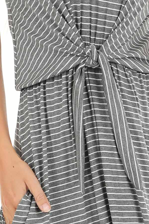 Charcoal and Pearl Striped Maxi Dress with Front Waist Tie detail
