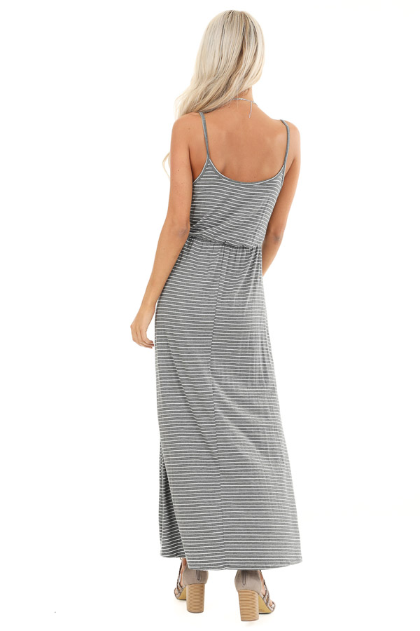 Charcoal and Pearl Striped Maxi Dress with Front Waist Tie back full body