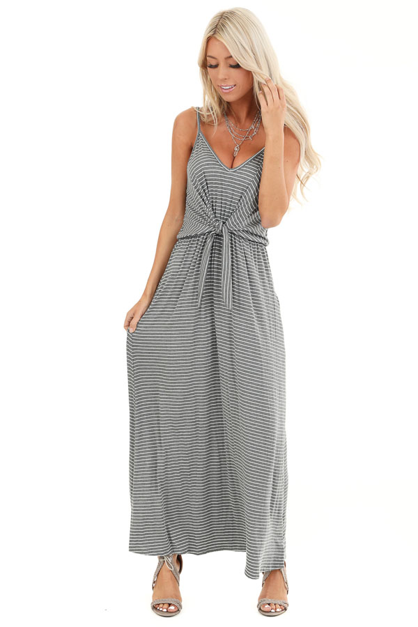 Charcoal and Pearl Striped Maxi Dress with Front Waist Tie front full body