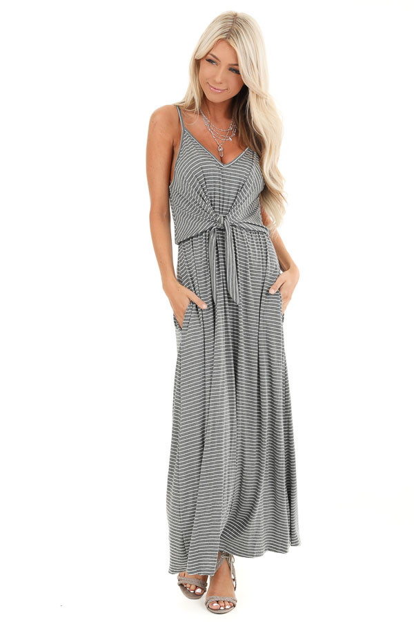Charcoal and Pearl Striped Maxi Dress with Front Waist Tie front close up