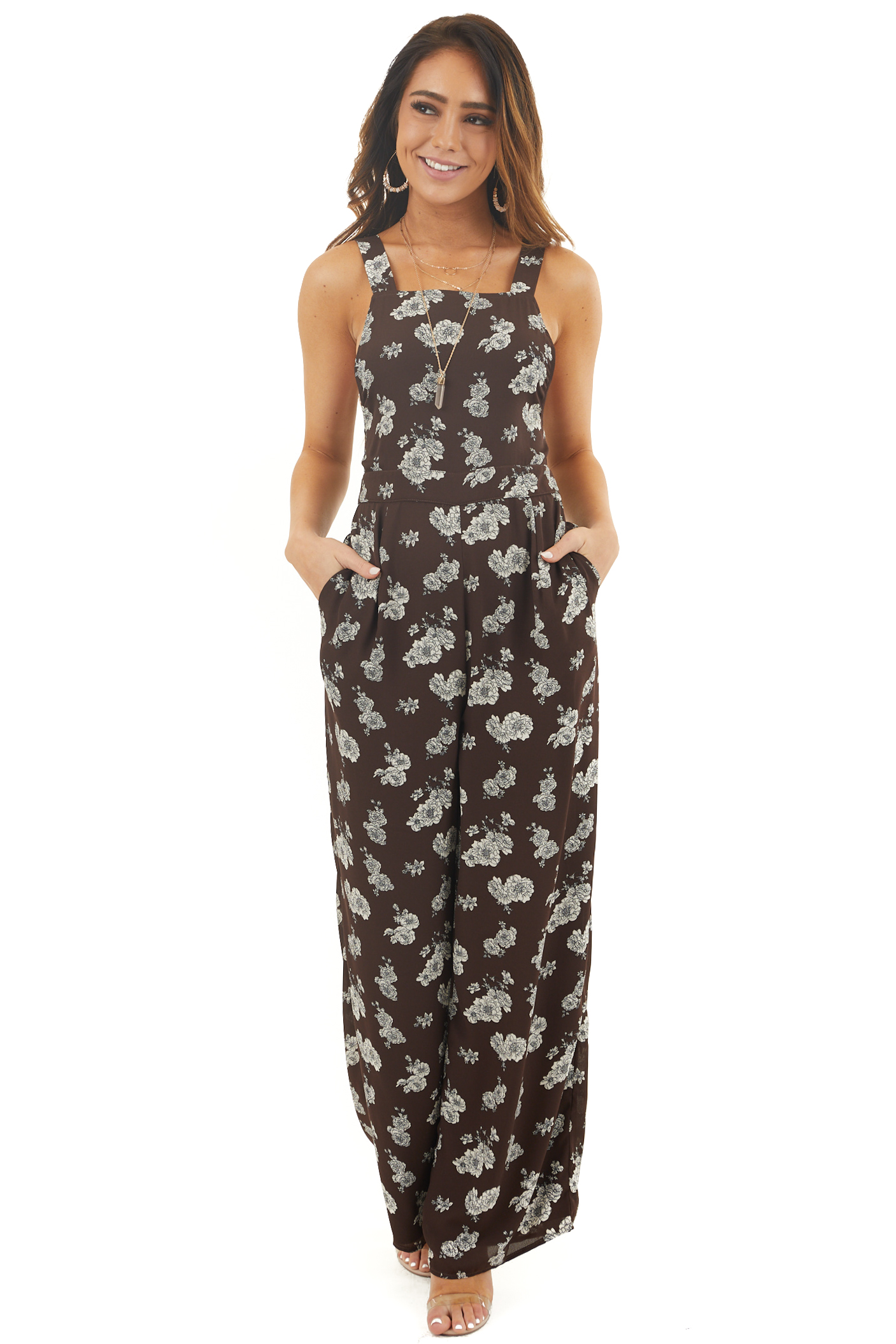 Chocolate Floral Print High Neck Jumpsuit with Side Pockets