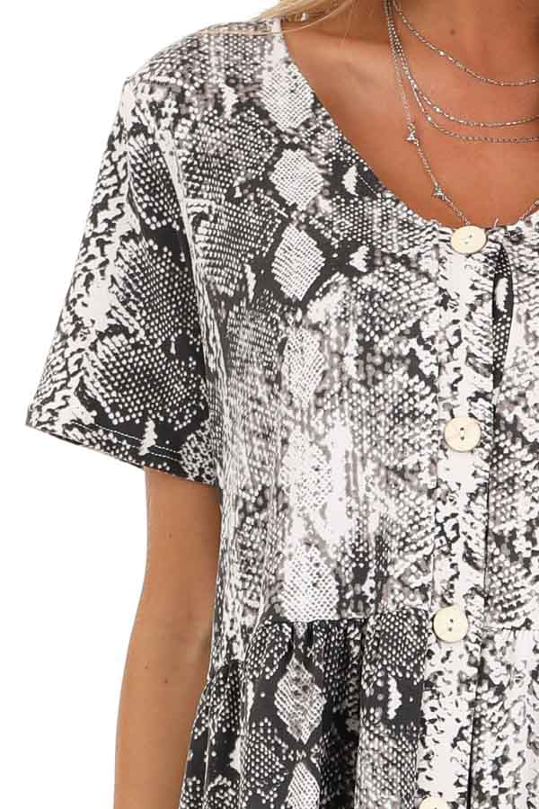 Charcoal and Cream Snakeskin Ruffle Top with Button Detail detail