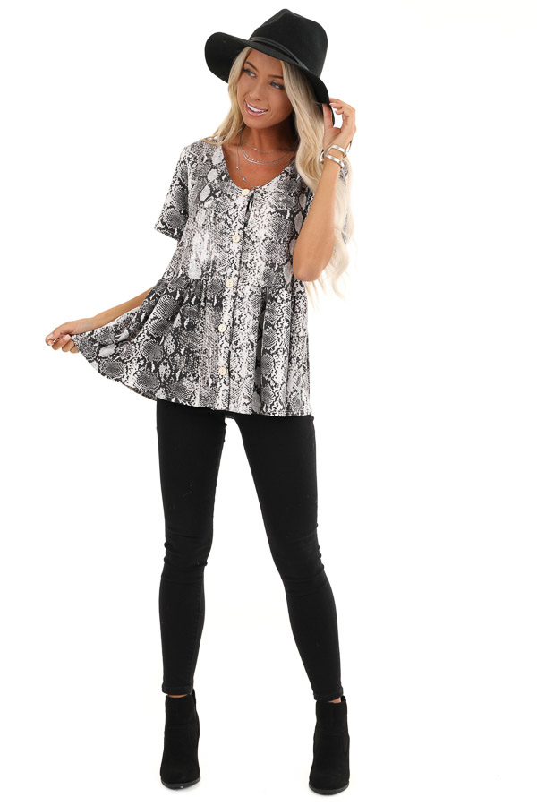 Charcoal and Cream Snakeskin Ruffle Top with Button Detail front full body