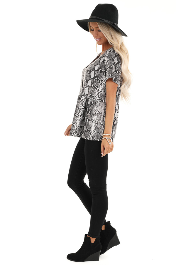 Charcoal and Cream Snakeskin Ruffle Top with Button Detail side full body