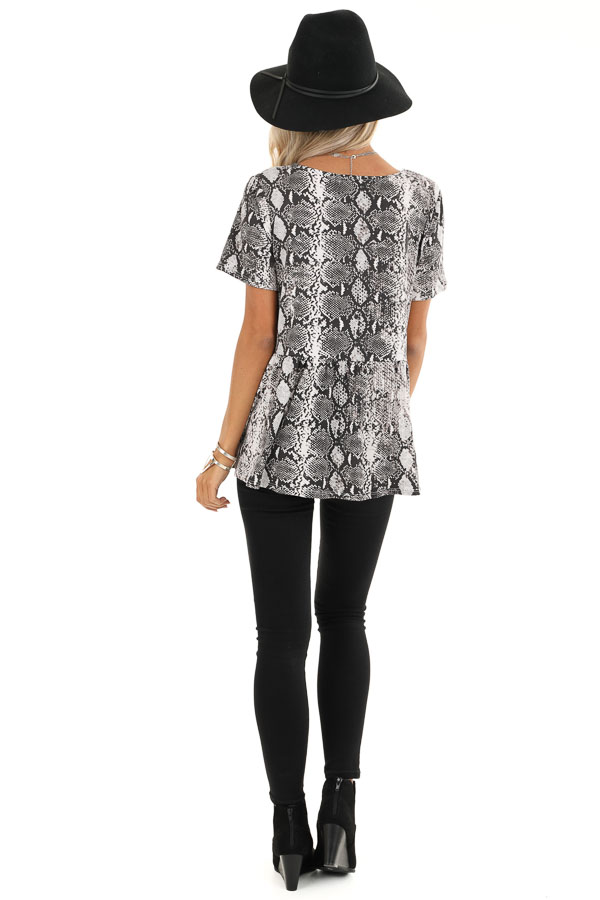 Charcoal and Cream Snakeskin Ruffle Top with Button Detail back full body