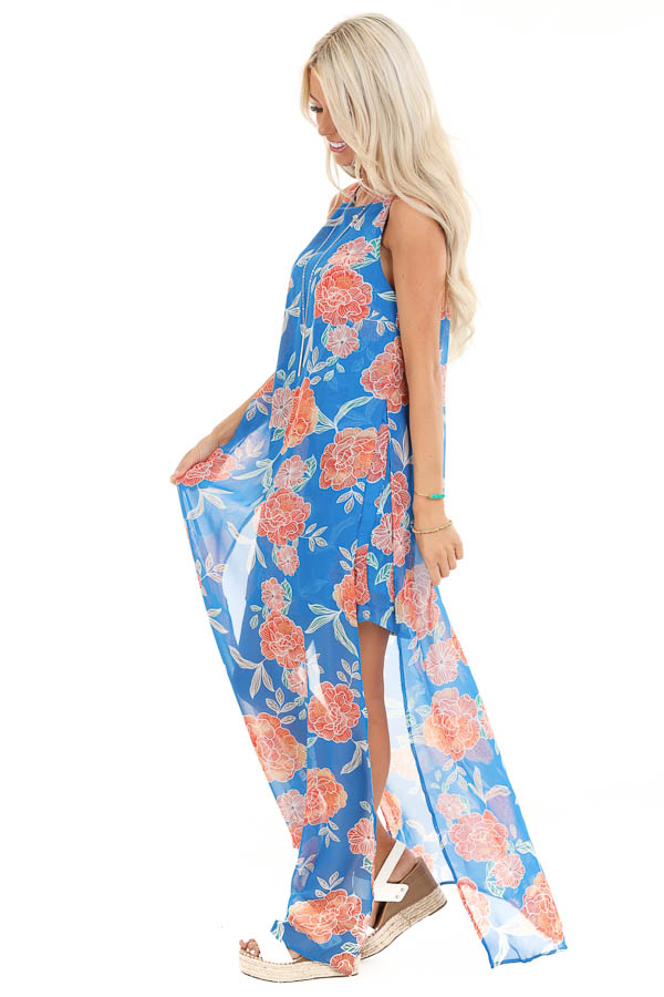 Royal Blue and Tangerine Floral Sleeveless Maxi Dress side full body
