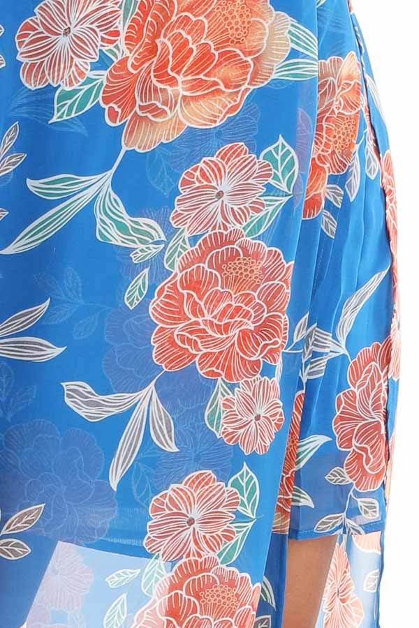 Royal Blue and Tangerine Floral Sleeveless Maxi Dress detail