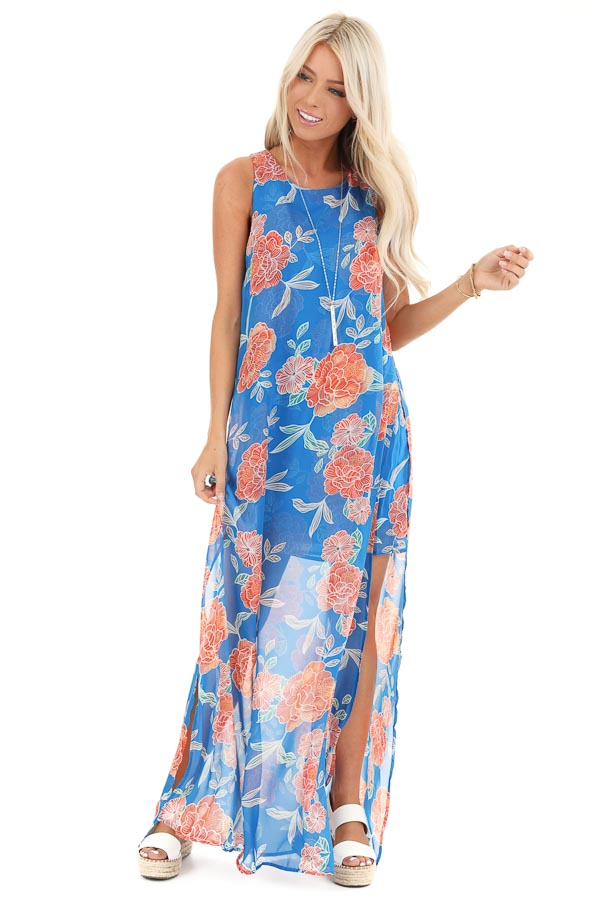 Royal Blue and Tangerine Floral Sleeveless Maxi Dress front full body