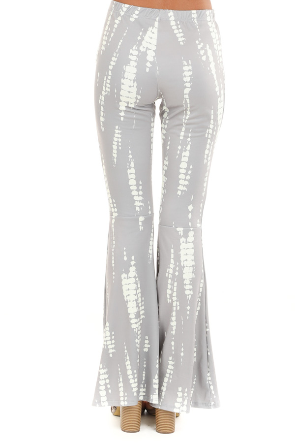 Taupe and Cream Soft Stretchy Knit Bell Bottom Pants back view