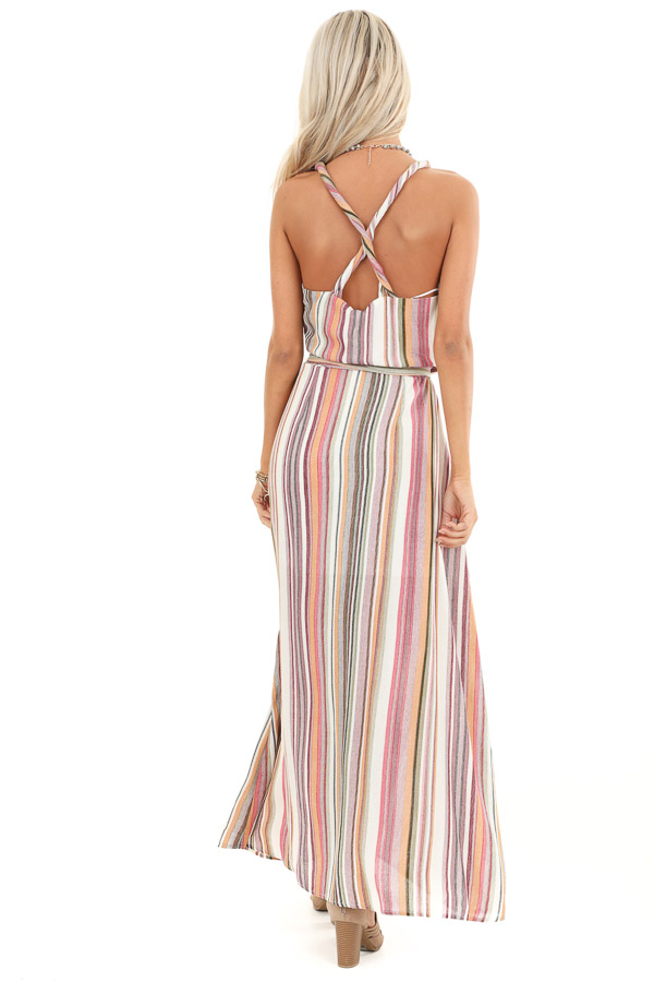 Mauve and Olive Striped Twisted Strap Maxi Dress back full body