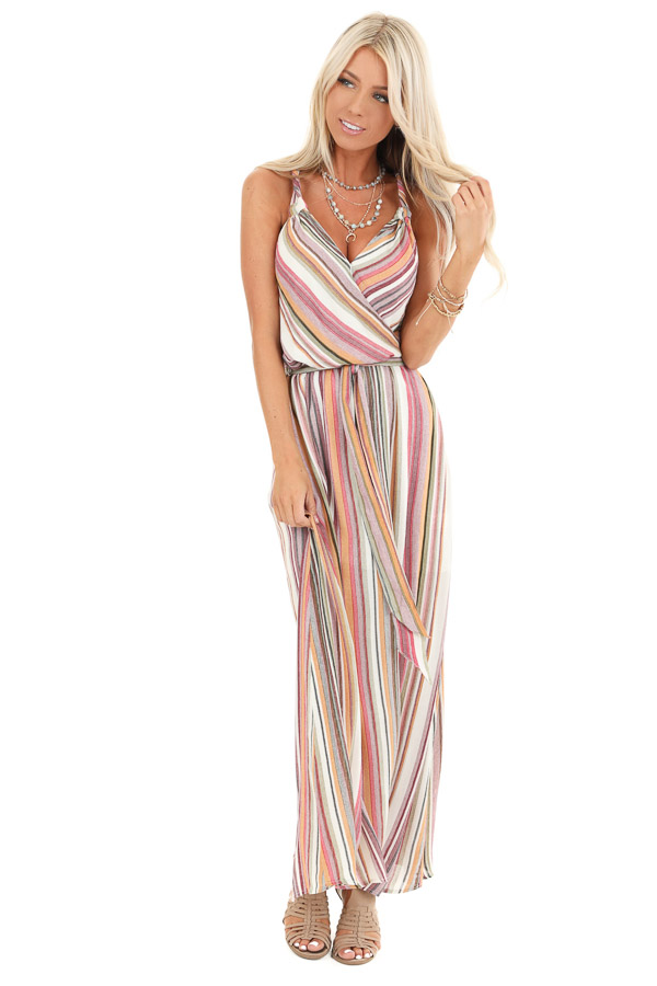 Mauve and Olive Striped Twisted Strap Maxi Dress front full body