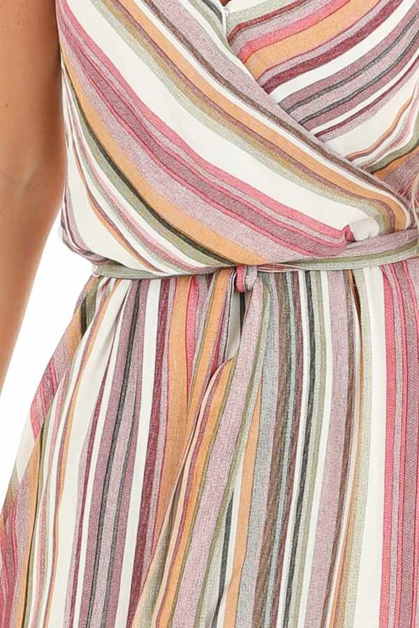 Mauve and Olive Striped Twisted Strap Maxi Dress detail
