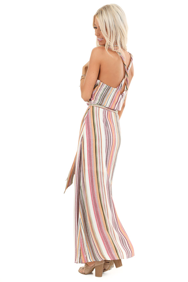 Mauve and Olive Striped Twisted Strap Maxi Dress side full body