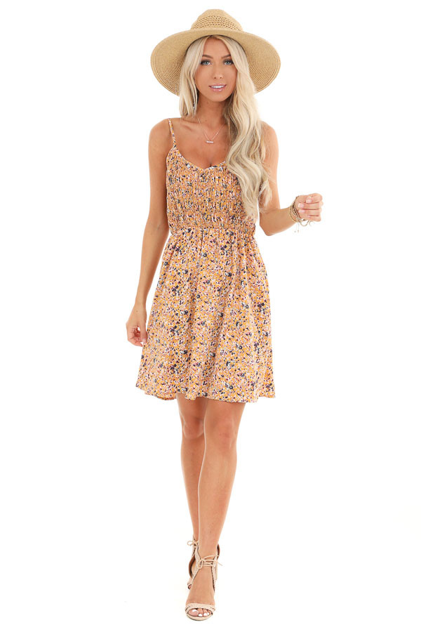 Mustard Floral Print Smocked Spaghetti Strap Mini Dress front full body