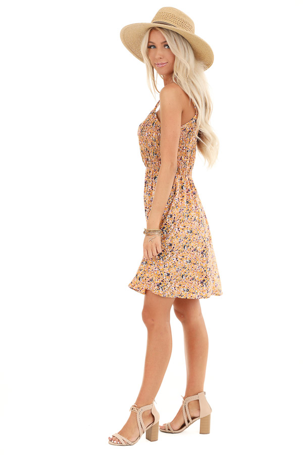 Mustard Floral Print Smocked Spaghetti Strap Mini Dress side full body