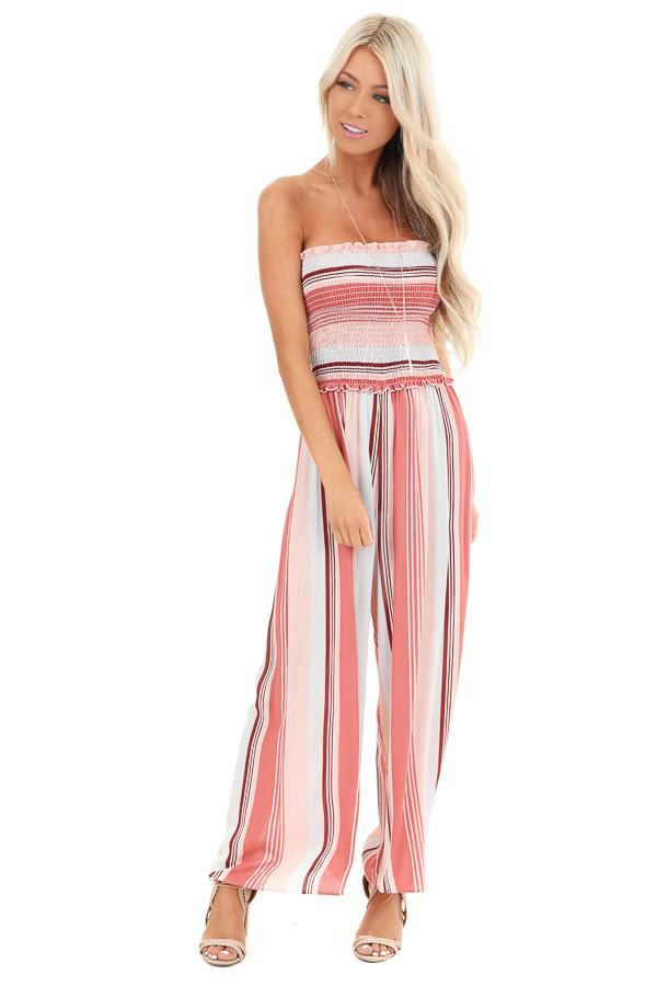Salmon Striped Strapless Smocked Wide Leg Jumpsuit front full body