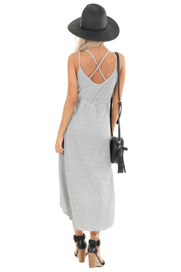 Obsidian and Ivory Striped High Low Midi Wrap Dress back full body
