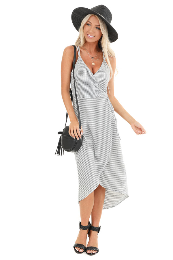Obsidian and Ivory Striped High Low Midi Wrap Dress front full body